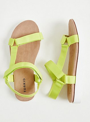 Neon Yellow Gladiator Flatform Sandal (WW), YELLOW, hi-res