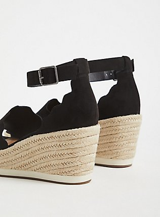 Black Faux Suede Scalloped Espadrille Wedge (WW) , BLACK, alternate