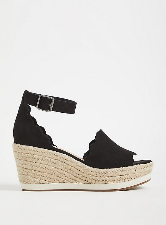 Black Faux Suede Scalloped Espadrille Wedge (WW) , , hi-res