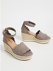 Plus Size Taupe Faux Suede Scallop Espadrille Wedge (WW), , alternate