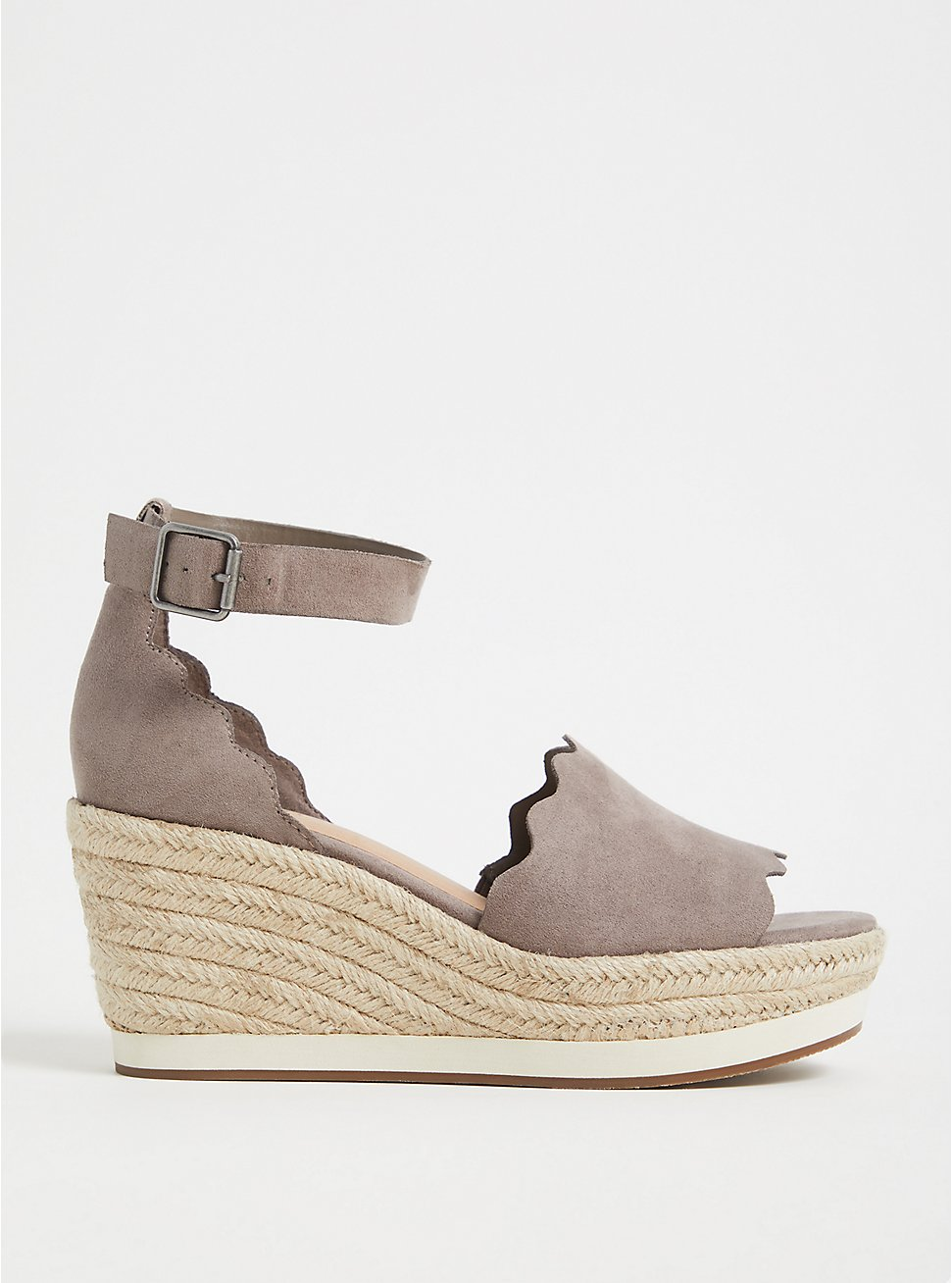 Plus Size Taupe Faux Suede Scallop Espadrille Wedge (WW), , hi-res