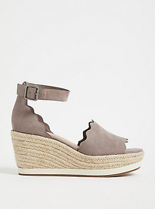 Taupe Faux Suede Scallop Espadrille Wedge (WW), TAN/BEIGE, hi-res