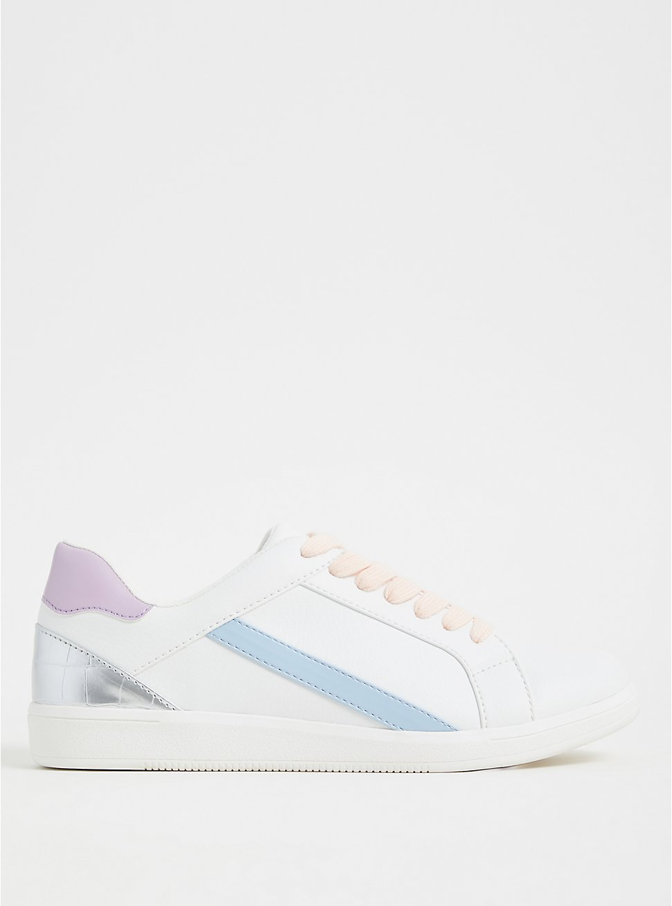 White & Pastel Faux Leather Sneaker (WW), WHITE, hi-res