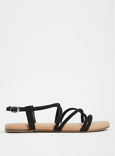 Black Faux Suede Gladiator Sandal (WW), BLACK, alternate