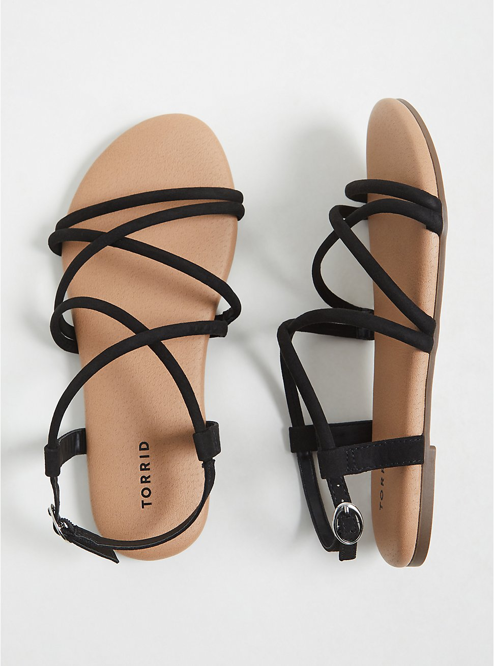 Black Faux Suede Gladiator Sandal (WW), BLACK, hi-res