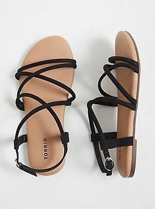 Plus Size Black Faux Suede Gladiator Sandal (WW), BLACK, hi-res