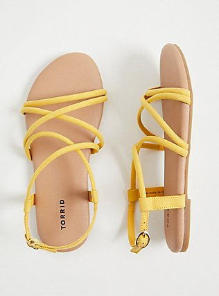 Mustard Yellow Faux Suede Gladiator Sandal (WW), YELLOW, alternate