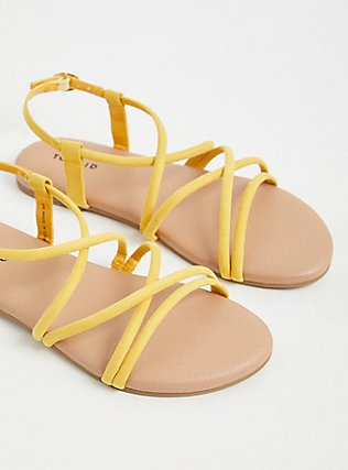Mustard Yellow Faux Suede Gladiator Sandal (WW), YELLOW, hi-res