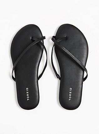 Plus Size Black Faux Leather Crisscross Toe Ring Flip Flop (WW), BLACK, alternate