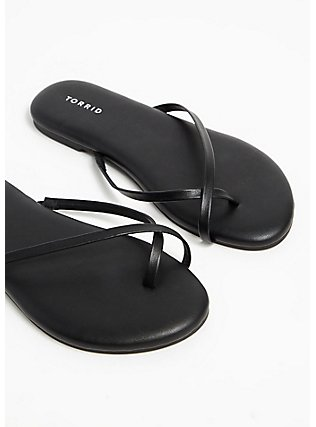 Black Faux Leather Crisscross Toe Ring Flip Flop (WW), BLACK, alternate