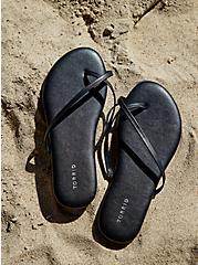 Black Faux Leather Crisscross Toe Ring Flip Flop (WW), BLACK, hi-res