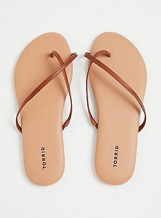 Plus Size Cognac Faux Leather Crisscross Toe Ring Flip Flop (WW), COGNAC, alternate