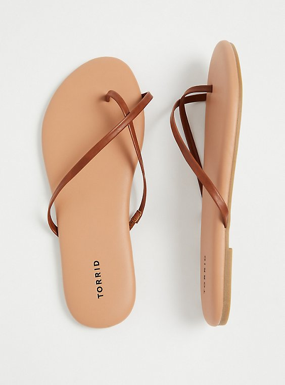 Cognac Faux Leather Crisscross Toe Ring Flip Flop (WW), , hi-res