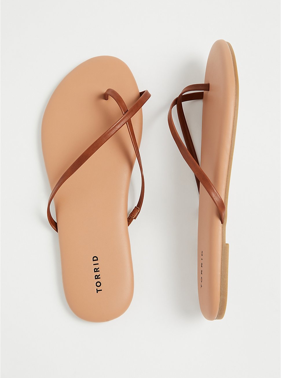 Cognac Faux Leather Crisscross Toe Ring Flip Flop (WW), COGNAC, hi-res