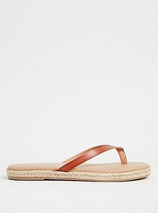 Cognac Faux Leather Flip Flop (WW), COGNAC, alternate