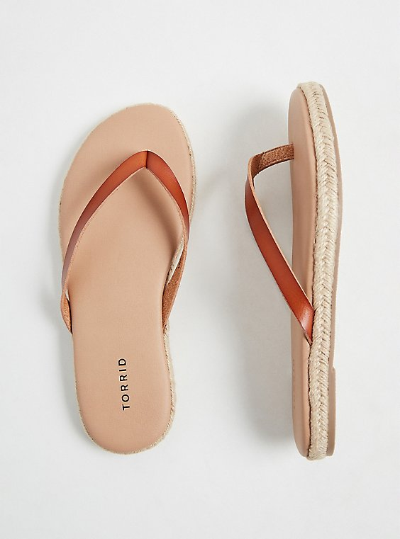 Cognac Faux Leather Flip Flop (WW), , hi-res