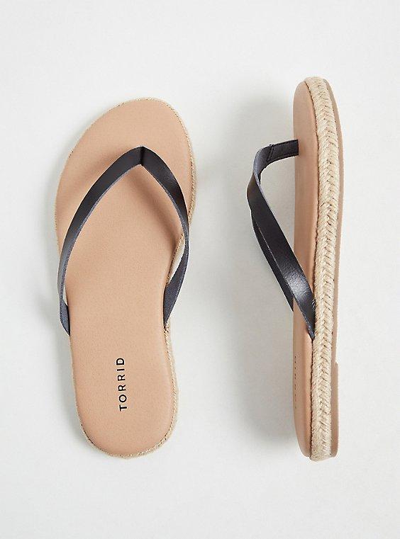 Plus Size Black Faux Leather Espadrille Flip Flop (WW), , hi-res