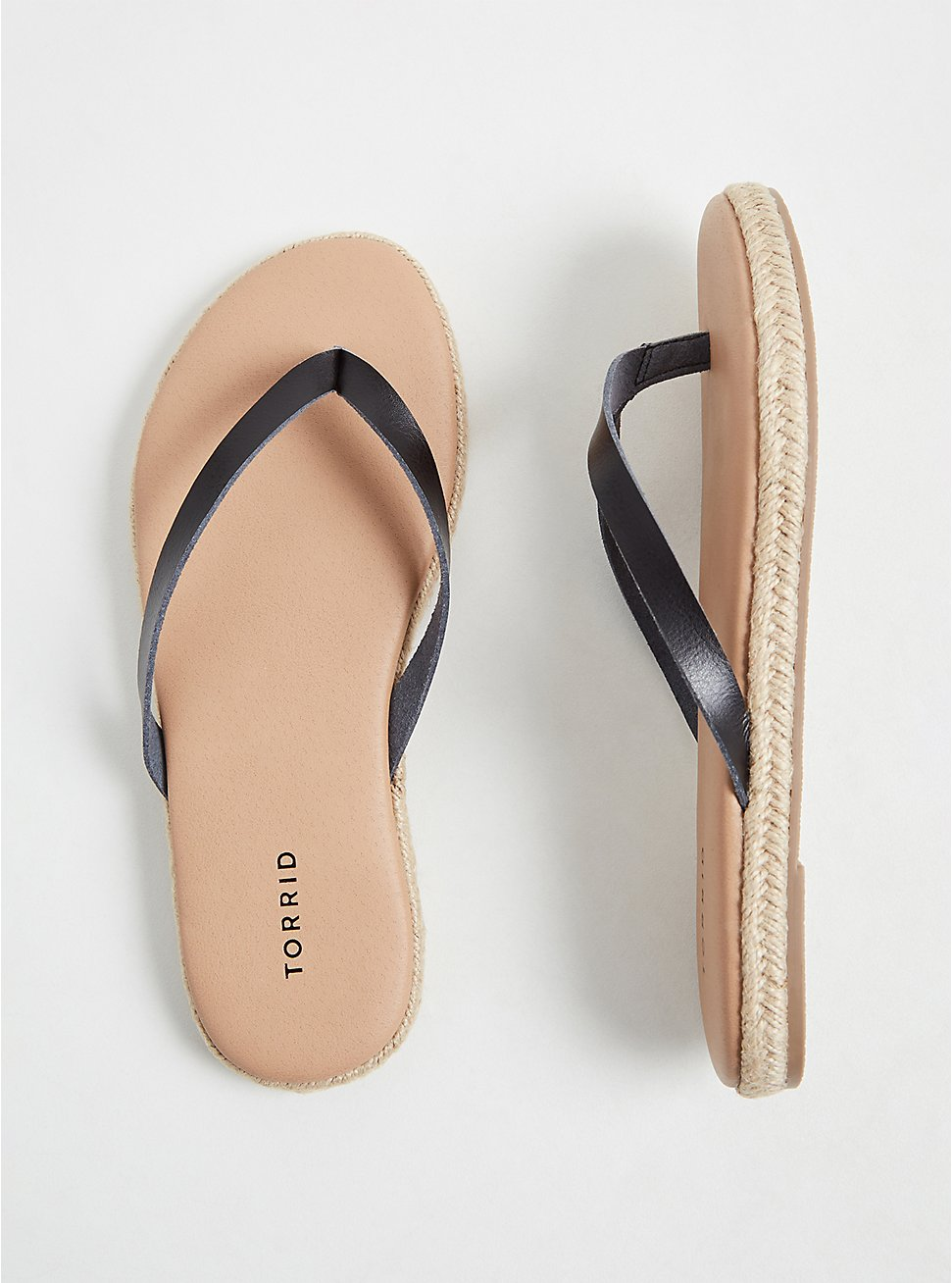 Black Faux Leather Espadrille Flip Flop (WW), BLACK, hi-res