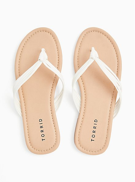 White Faux Leather Strappy Braided Sandal (WW), WHITE, alternate
