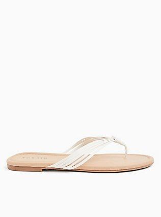 Plus Size White Faux Leather Strappy Braided Sandal (WW), WHITE, alternate