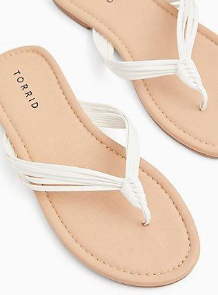 Plus Size White Faux Leather Strappy Braided Sandal (WW), WHITE, hi-res