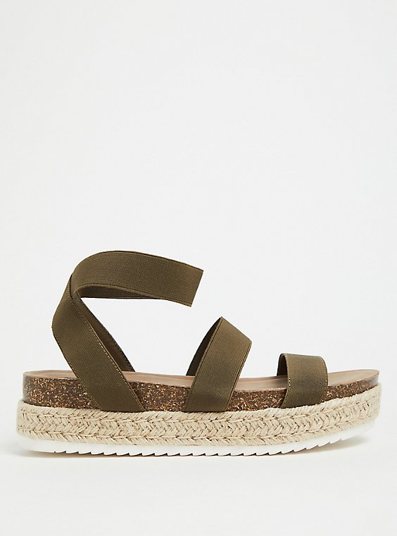 Plus Size Olive Green Stretch Band Espadrille Flatform (WW), , hi-res