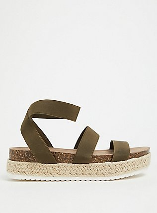 Olive Green Stretch Band Espadrille Flatform (WW), GREEN, hi-res
