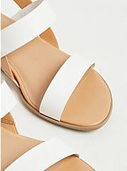 White & Tan Faux Leather Slingback Wedge (WW), WHITE, alternate