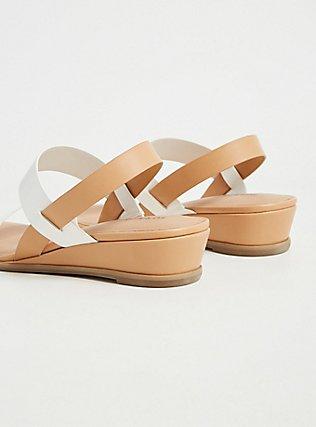 Plus Size White & Tan Faux Leather Slingback Wedge (WW), WHITE, alternate