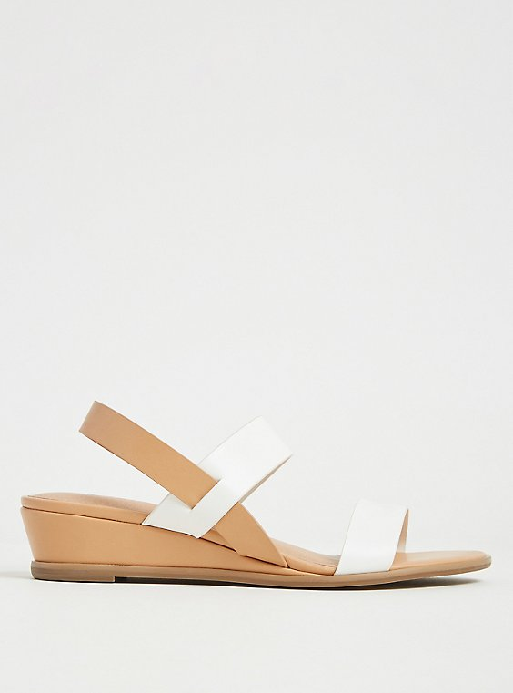 White & Tan Faux Leather Slingback Wedge (WW), WHITE, hi-res