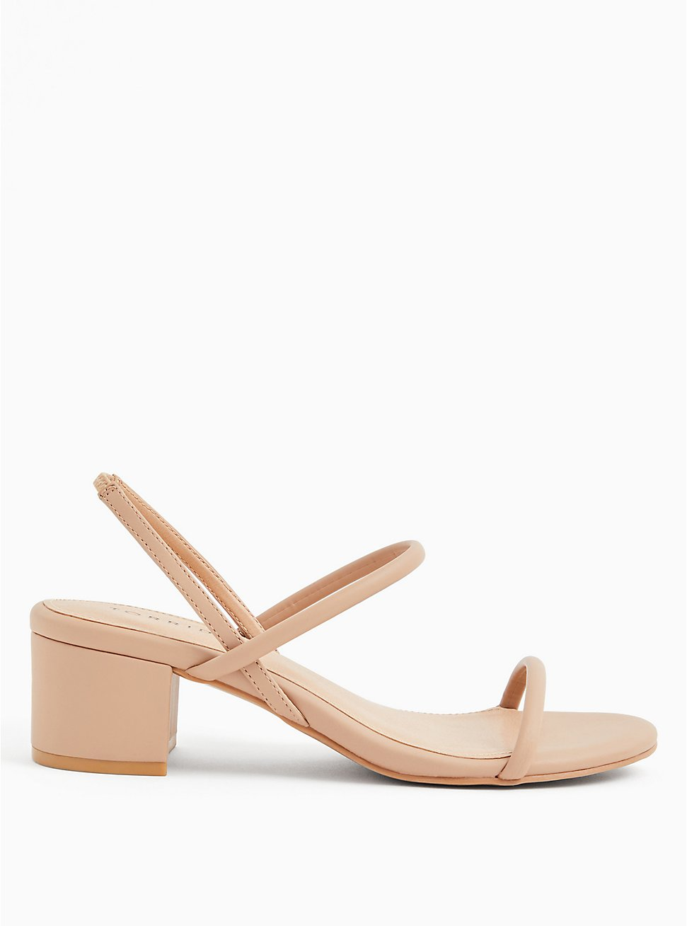 Beige Faux Leather Slingback Block Heel (WW), , hi-res
