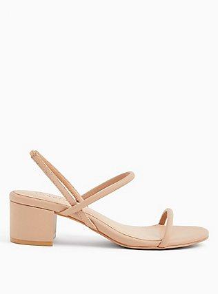 Plus Size Nude Faux Leather Slingback Block Heel (WW), NUDE, hi-res