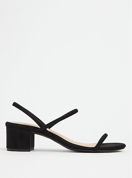 Black Faux Suede Slingback Block Heel (WW), BLACK, alternate