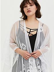 Plus Size White Mesh Emboidered Ruana, , alternate