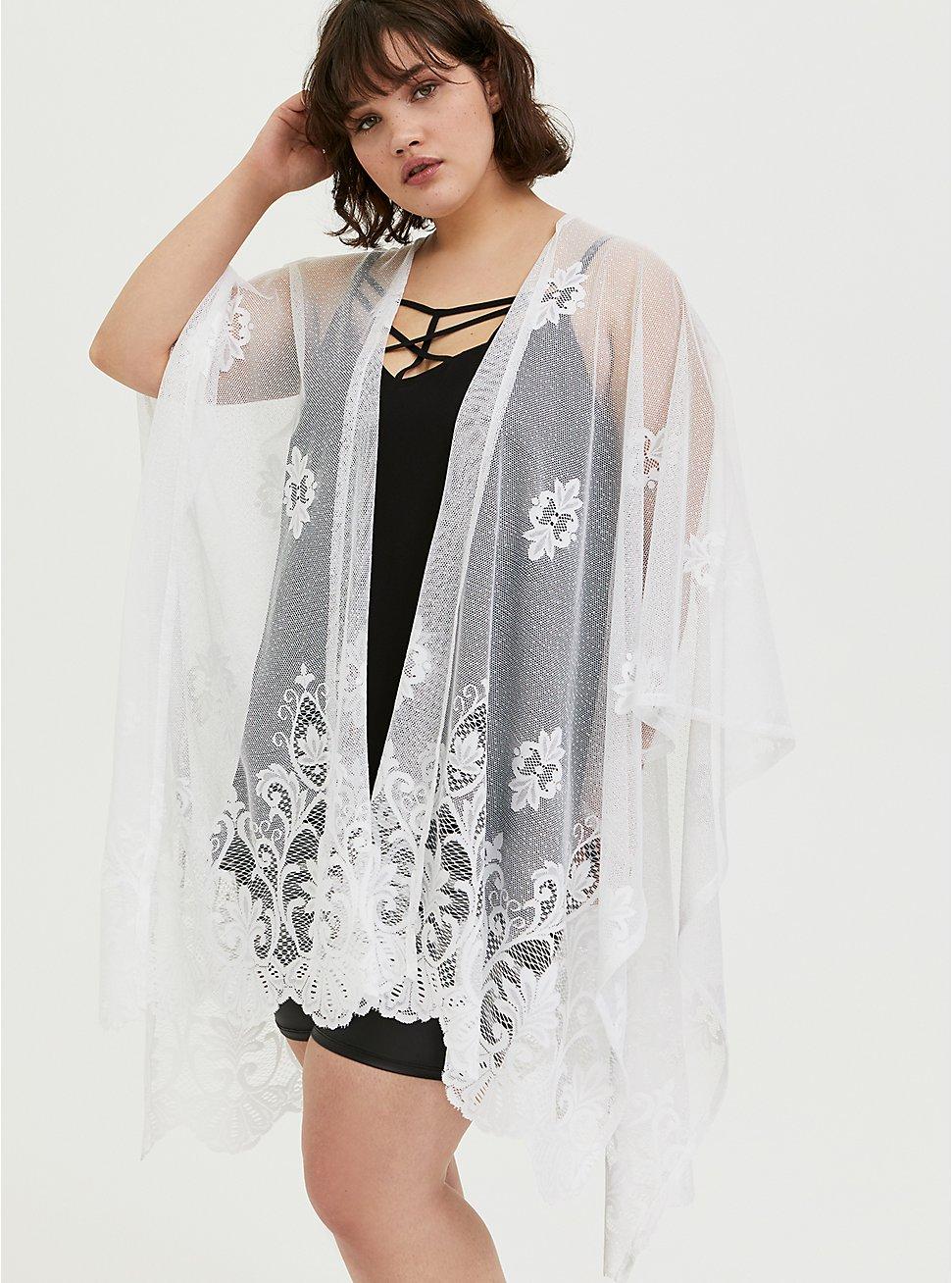 Plus Size White Mesh Emboidered Ruana, , hi-res
