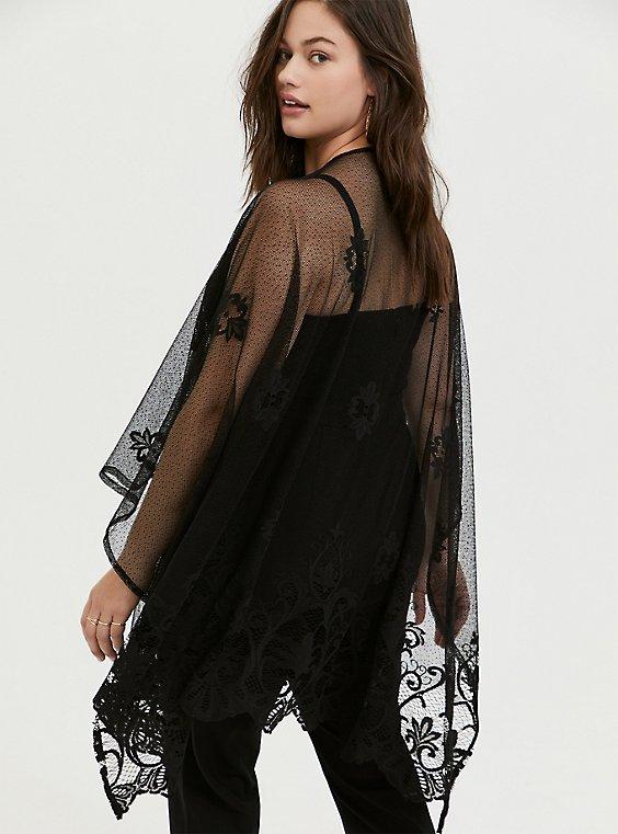 Plus Size Black Mesh Floral Embroidered Ruana, , hi-res