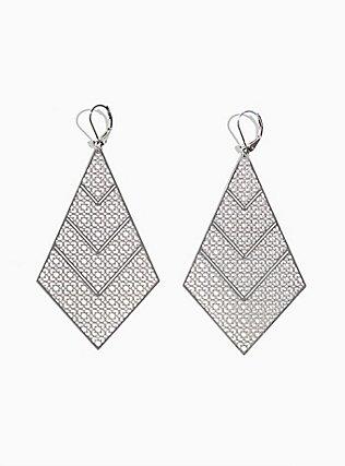 Plus Size Silver-Tone Filigree Kite Dangle Earrings, , hi-res