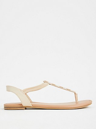 Tan Faux Leather & Gold Bead Slingback Sandal (WW), GREY, alternate