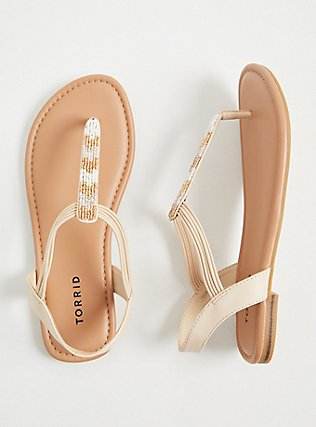 Tan Faux Leather & Gold Bead Slingback Sandal (WW), GREY, hi-res