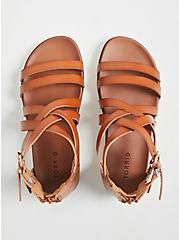 Cognac Faux Leather Gladiator Sandal (WW), COGNAC, alternate