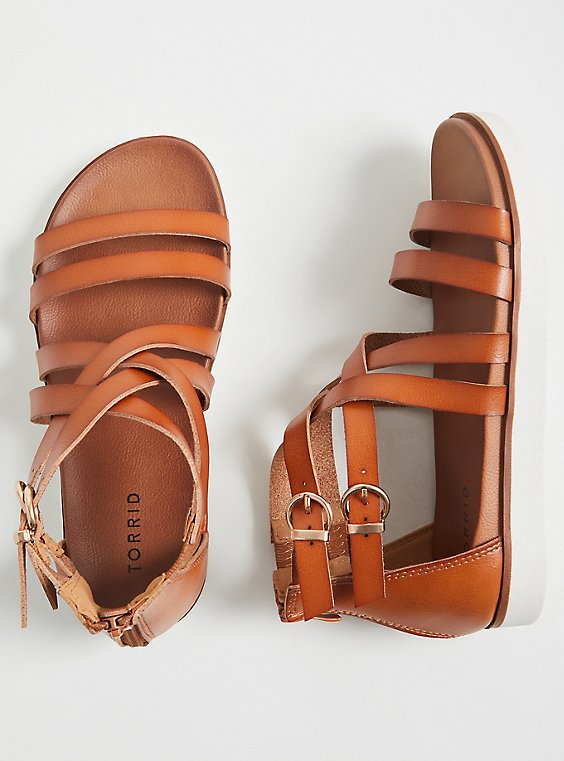 Cognac Faux Leather Gladiator Sandal (WW), , hi-res