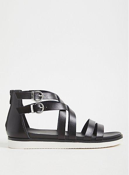 Black Faux Leather Gladiator Sandal (WW), BLACK, alternate