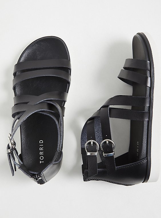 Black Faux Leather Gladiator Sandal (WW), , hi-res