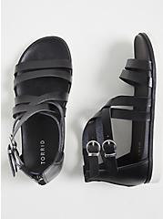 Plus Size Black Faux Leather Gladiator Sandal (WW), BLACK, hi-res