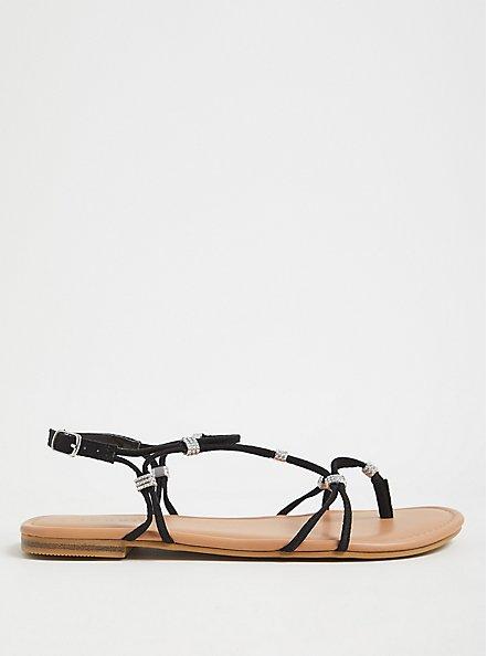 Black Faux Suede Rhinestone Charm Strappy Sandal (WW), BLACK, alternate