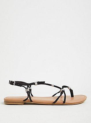Plus Size Black Faux Suede Rhinestone Charm Strappy Sandal (WW), BLACK, alternate
