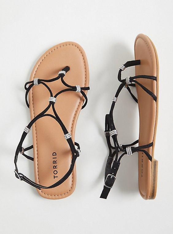 Plus Size Black Faux Suede Rhinestone Charm Strappy Sandal (WW), , hi-res