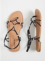 Black Faux Suede Rhinestone Charm Strappy Sandal (WW), BLACK, hi-res