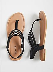 Black Faux Suede Braided Rhinestone Slingback Sandal (WW), BLACK, hi-res
