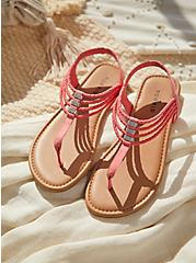 Coral Faux Suede Braided Rhinestone Slingback Sandal (WW), PINK, hi-res